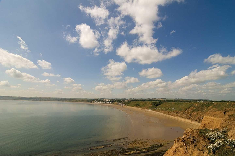 Aerial coastal view of Filey Bay