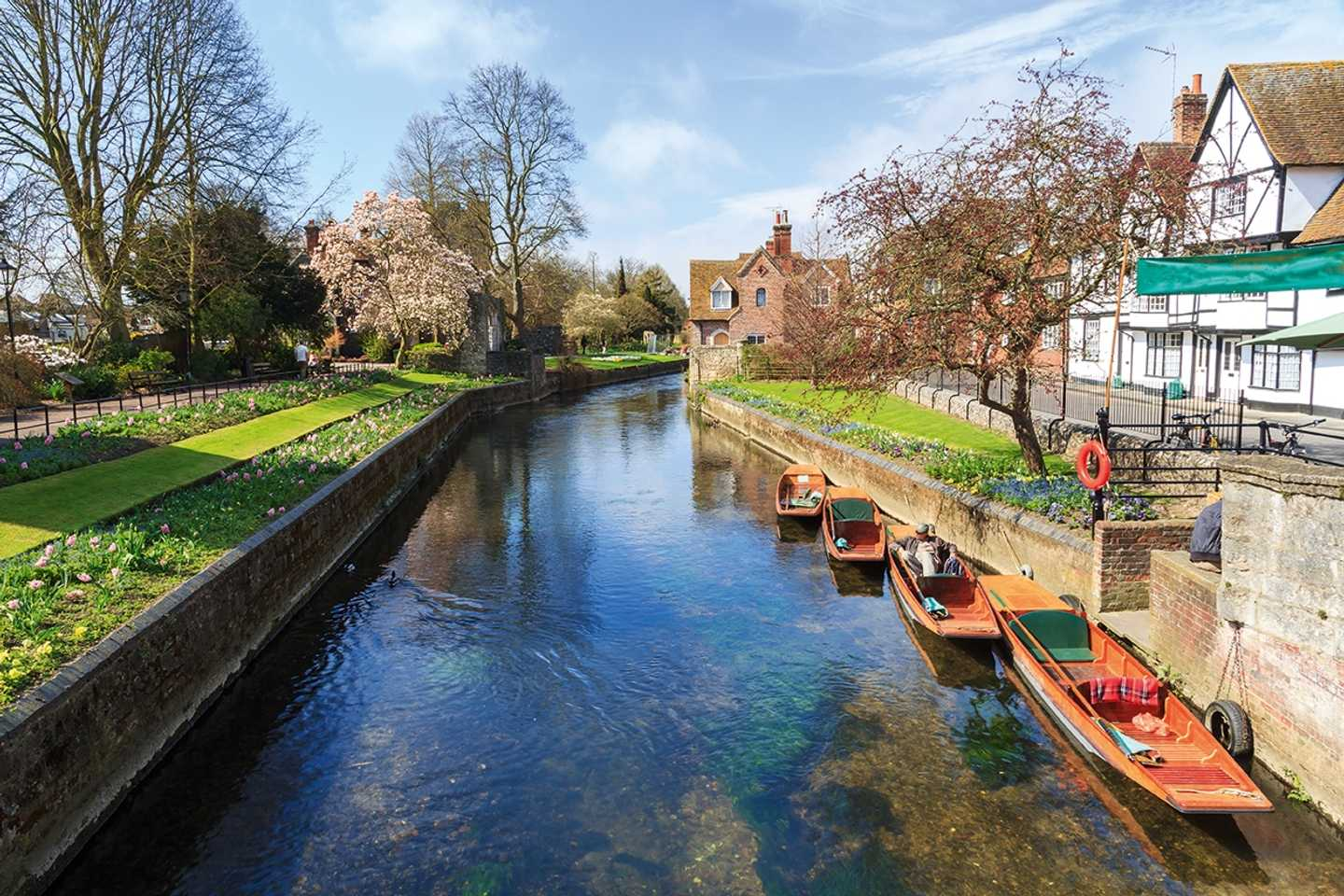 Aerial view of the River Stour in Canterbury, Kent