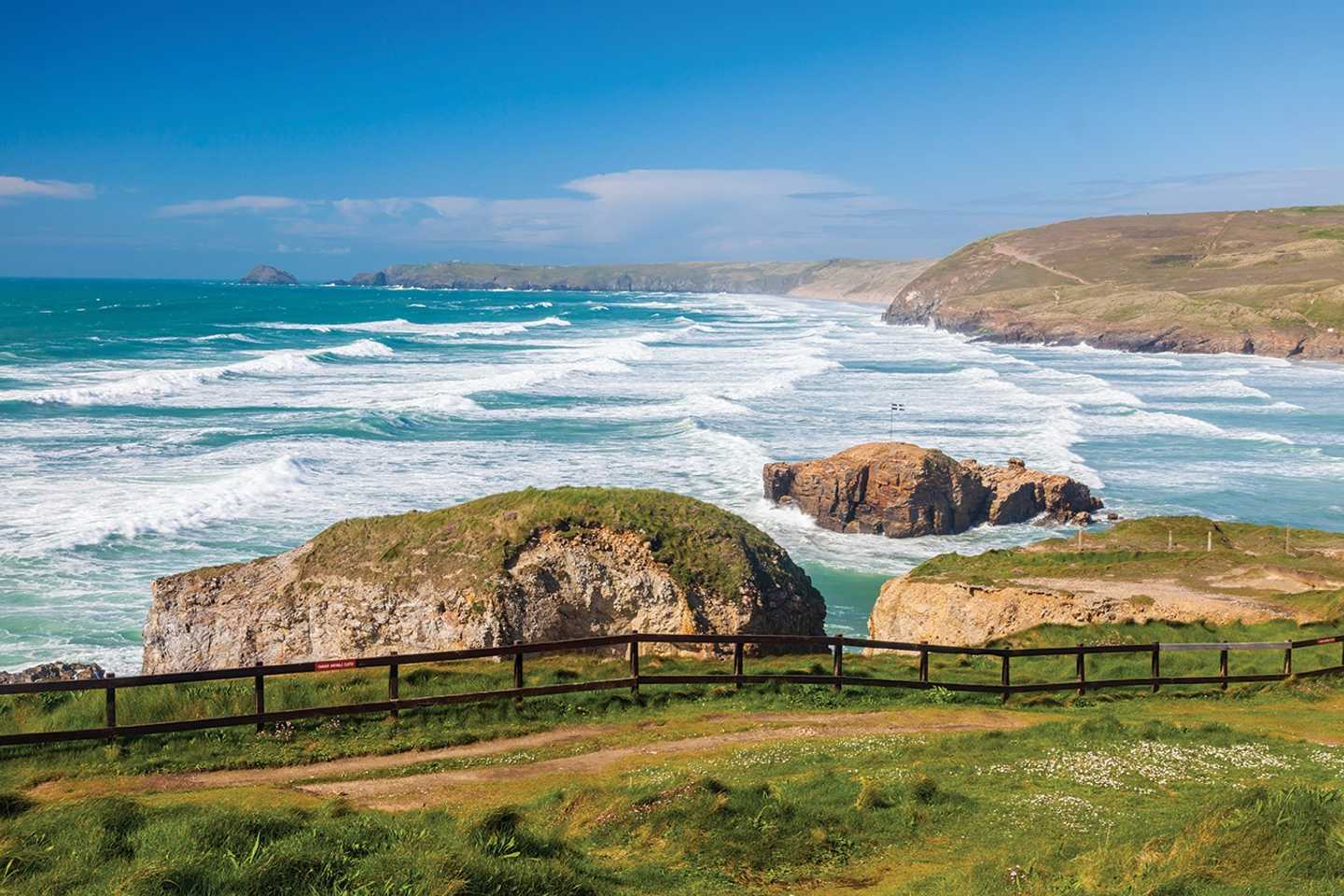 View of Perranporth beach in Cornwall