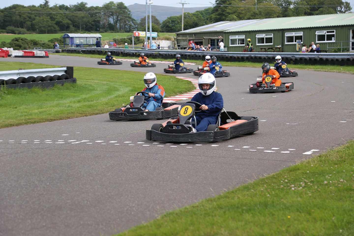 9 drivers in a go-kart race