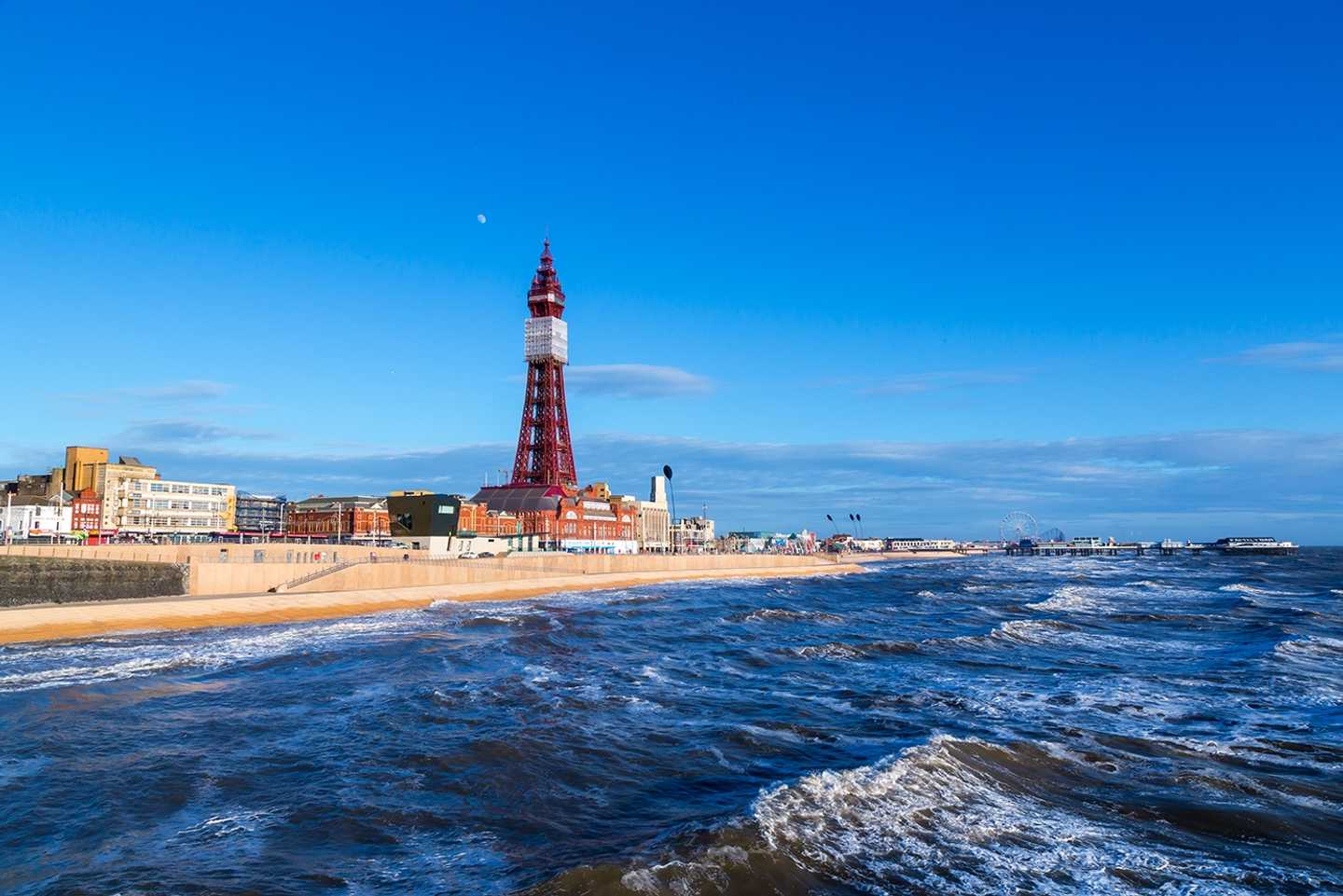 Blue sky view of Blackpool Tower