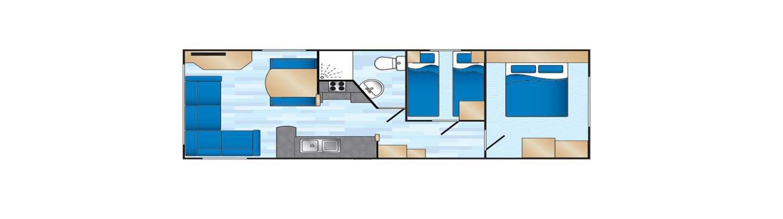An example of a Standard 2 bedroom caravan floorplan