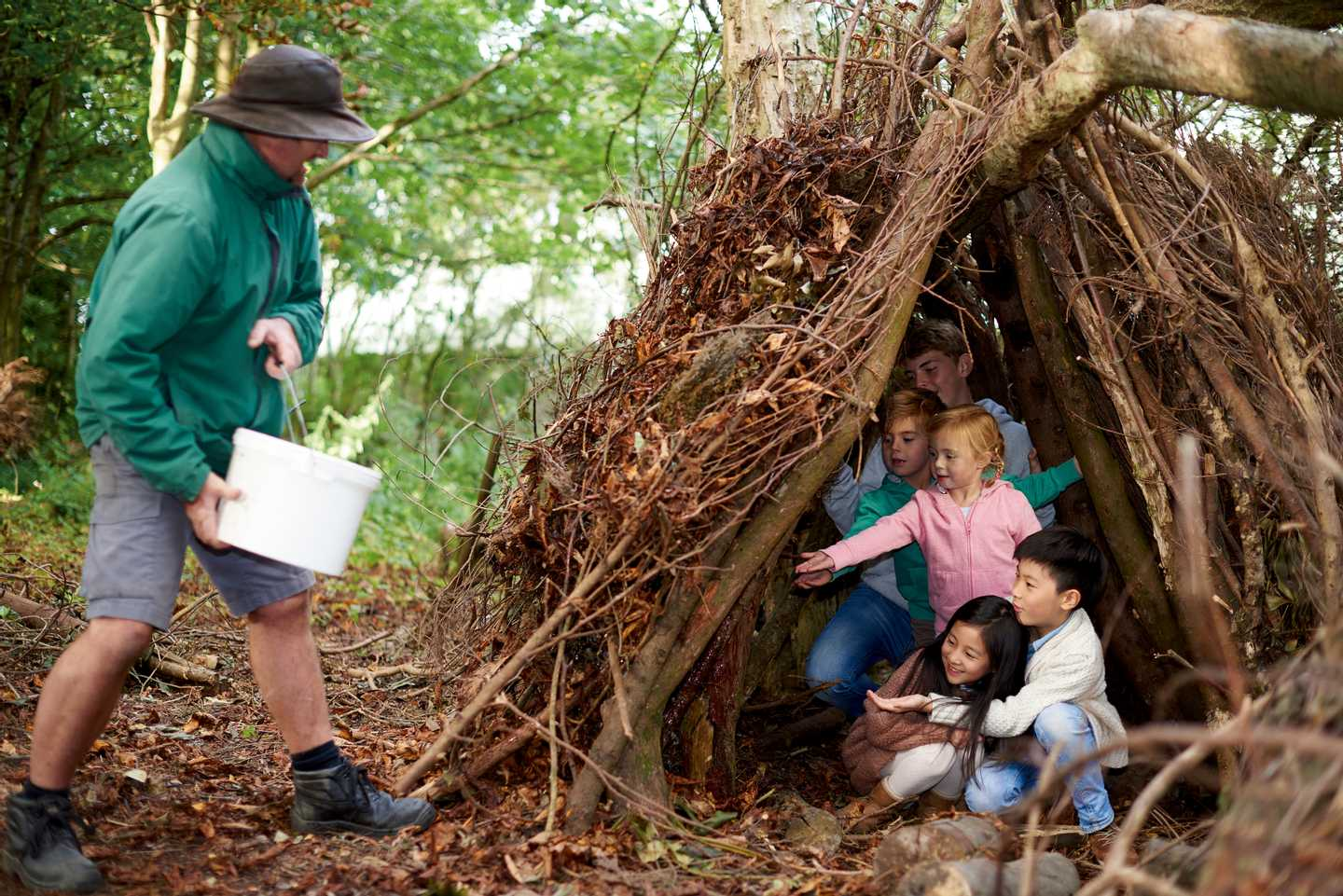 Kids in a survival shelter