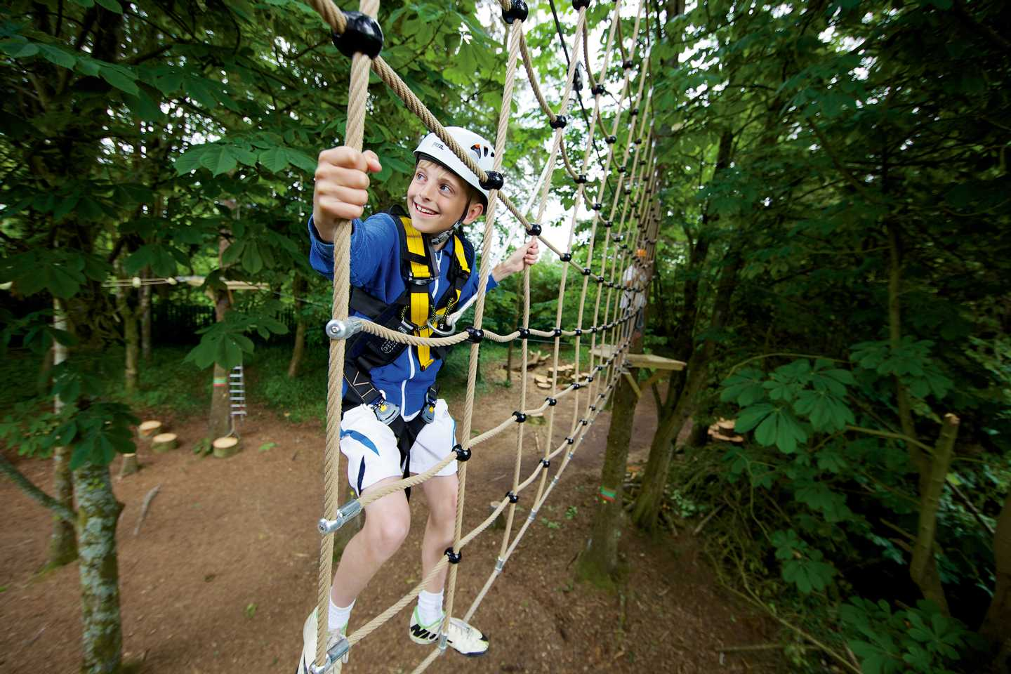 A guest on the aerial adventure course