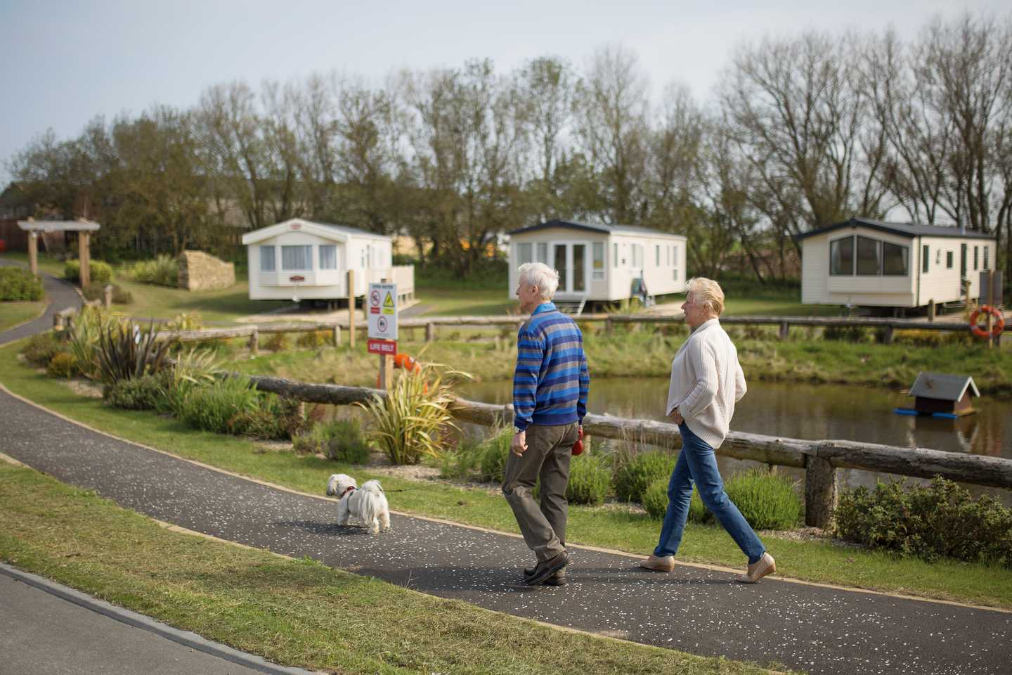 Caravan owners walking through the park at Blue Dolphin