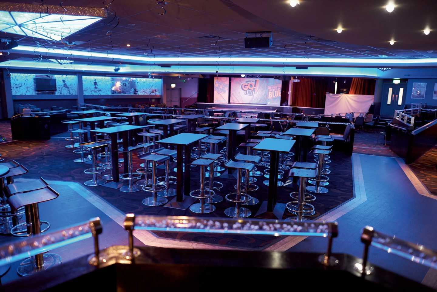 A view of our ShowBar with show lights and ample seating areas