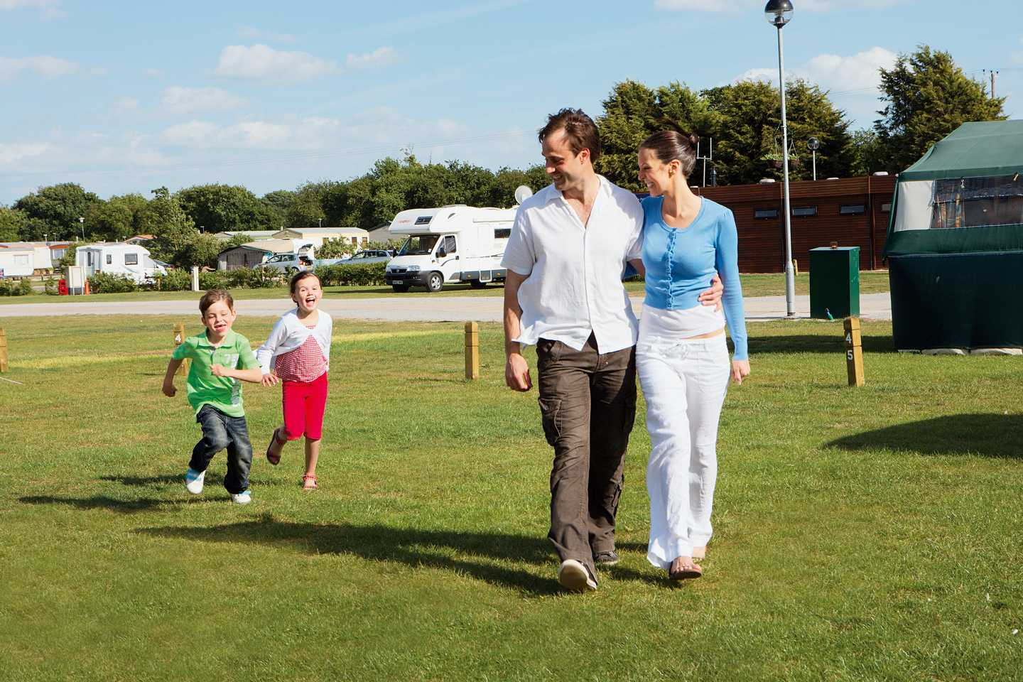 A family going for a walk around the touring area