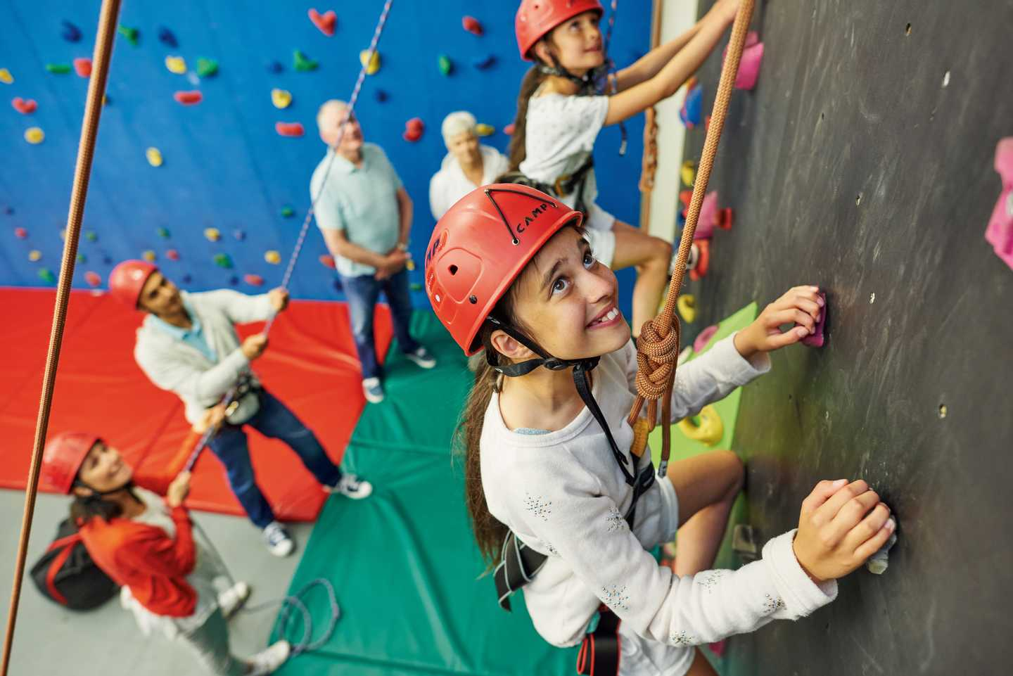 Climbing session on climbing wall