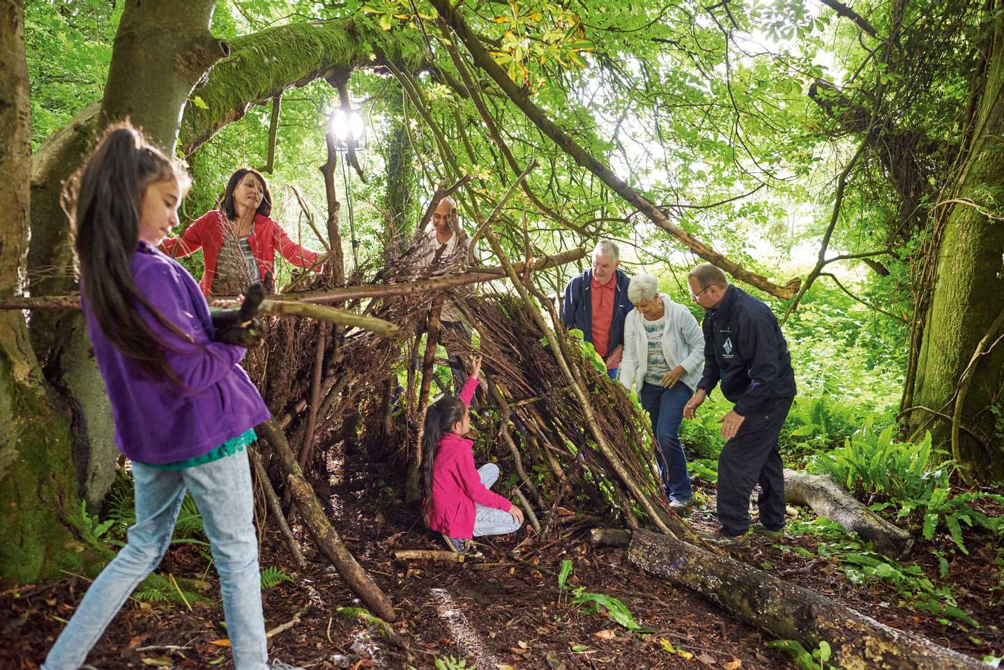 Family building shelters at our Nature Rockz activity