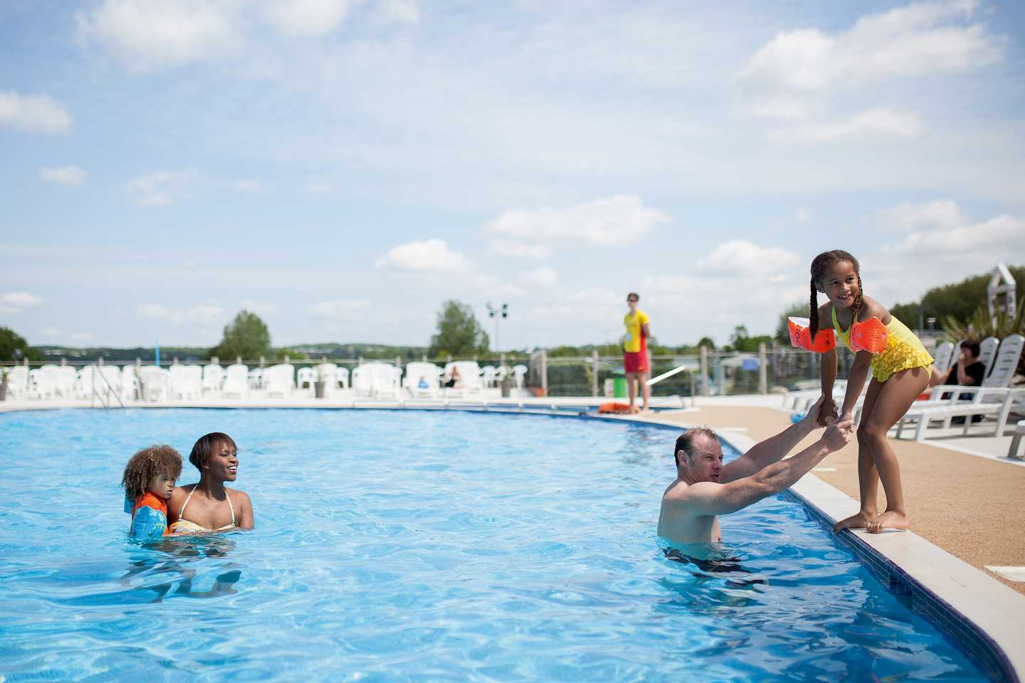 Guests in the outdoor pool