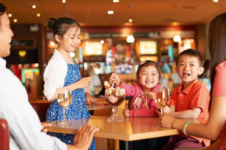 A family enjoying a meal
