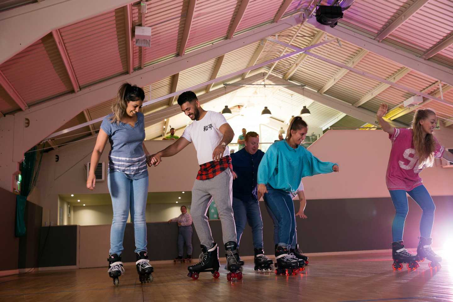 Guests at the roller disco