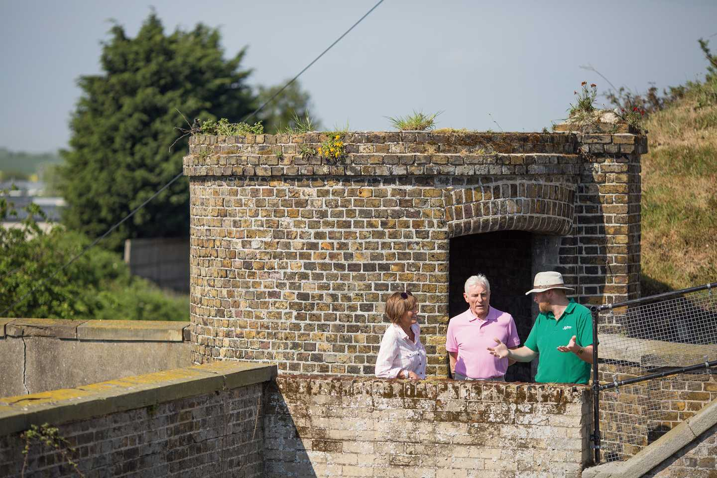 Guests exploring Slough Fort at Allhallows caravan park