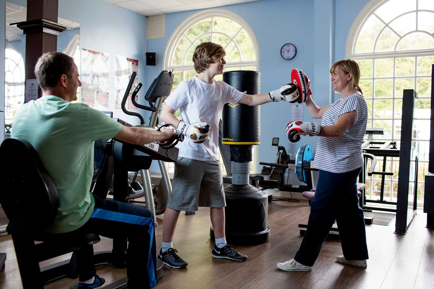 Guests working out in the gym