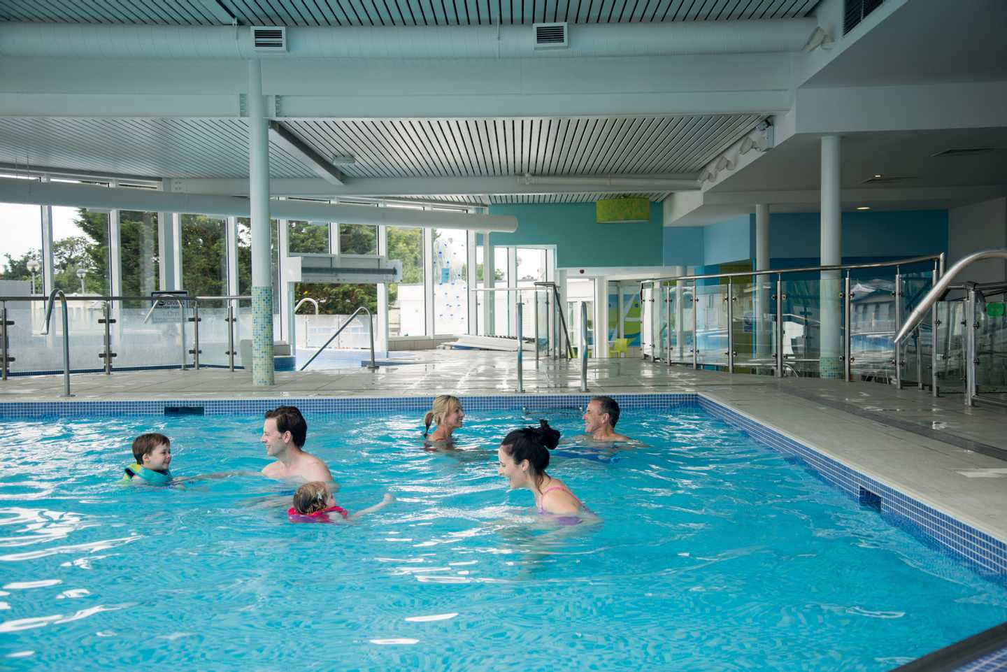 Guests in the indoor pool
