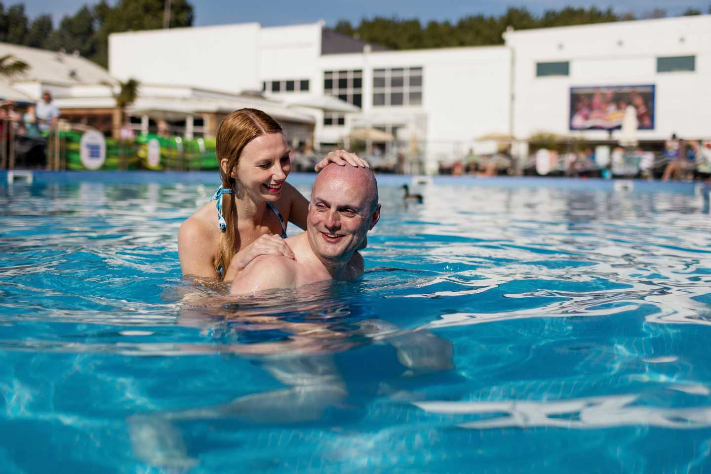 Guests in the outdoor pool at Burnham-on-Sea