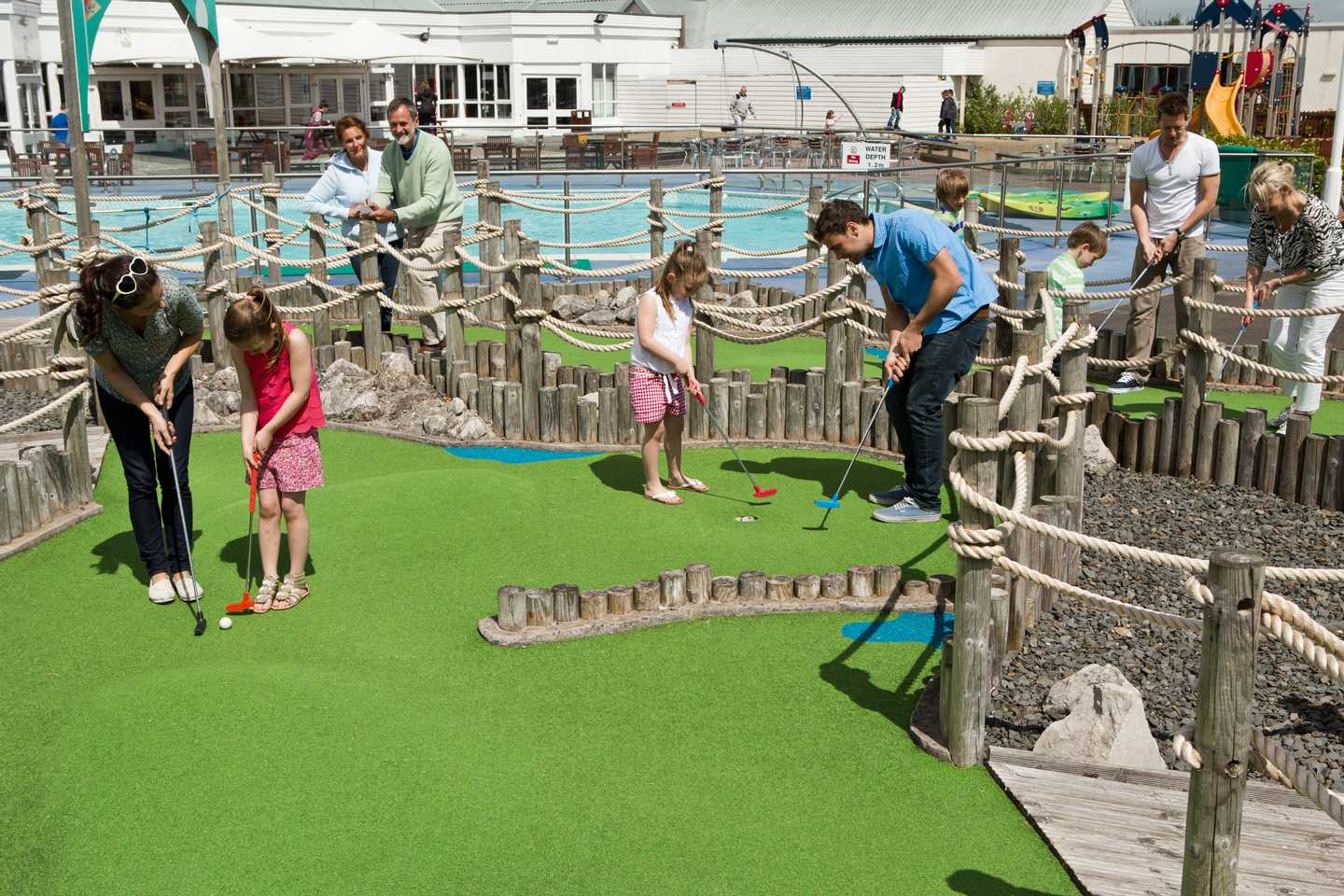 Guests playing crazy golf