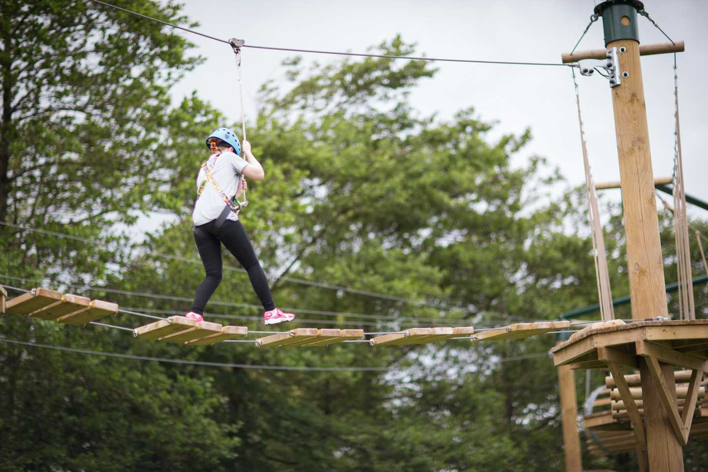 A guest climbing on the Aerial Adventure