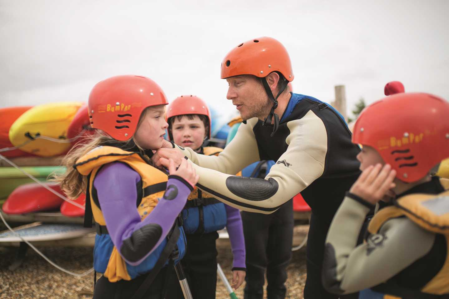 Kids getting ready for watersports