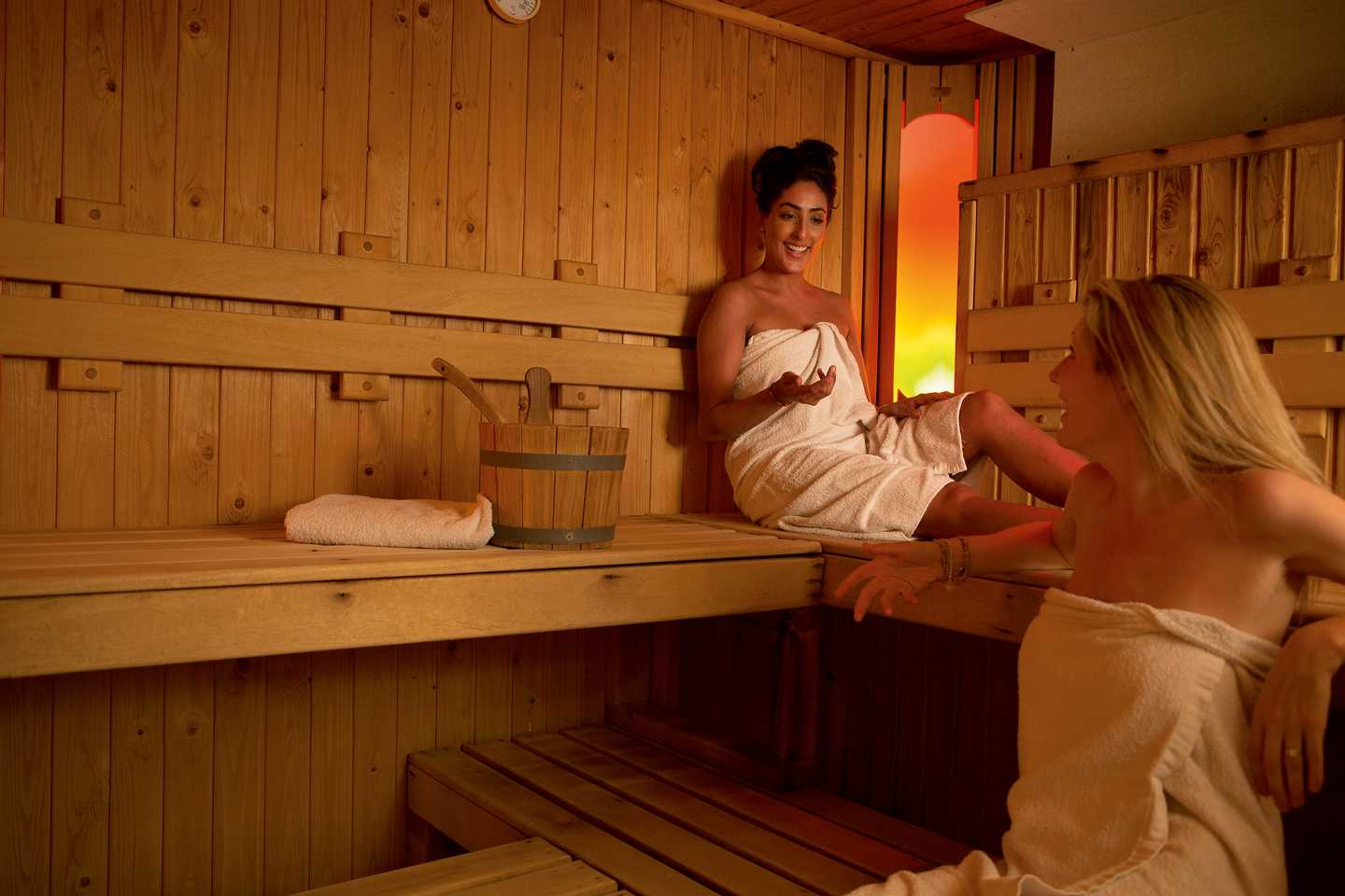 2 ladies relaxing in our owners' sauna