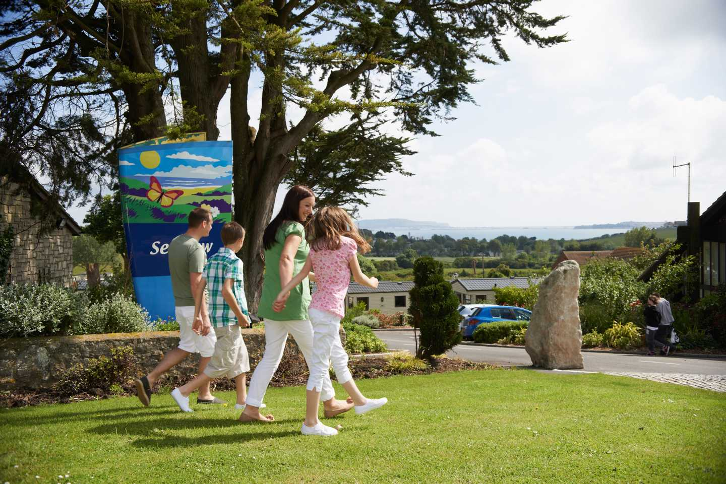 Guests walking through the entrance to Seaview Holiday Park