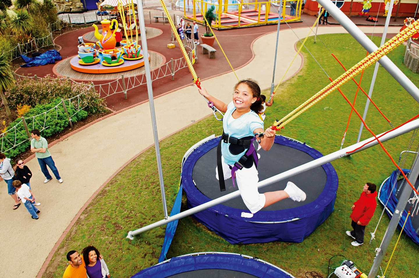 A guest bungee trampolining at Thorpe Park