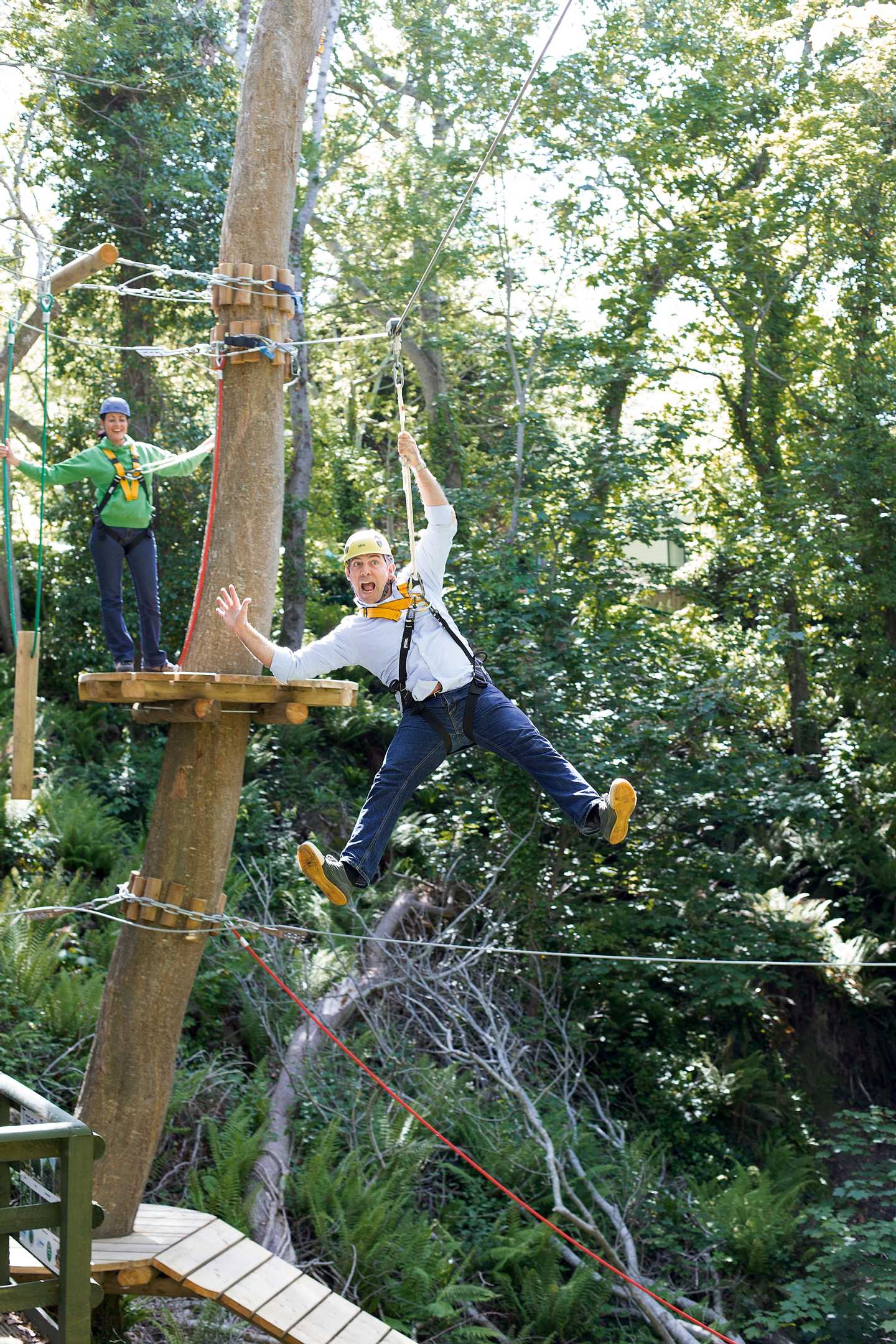 Man enjoying ropes course