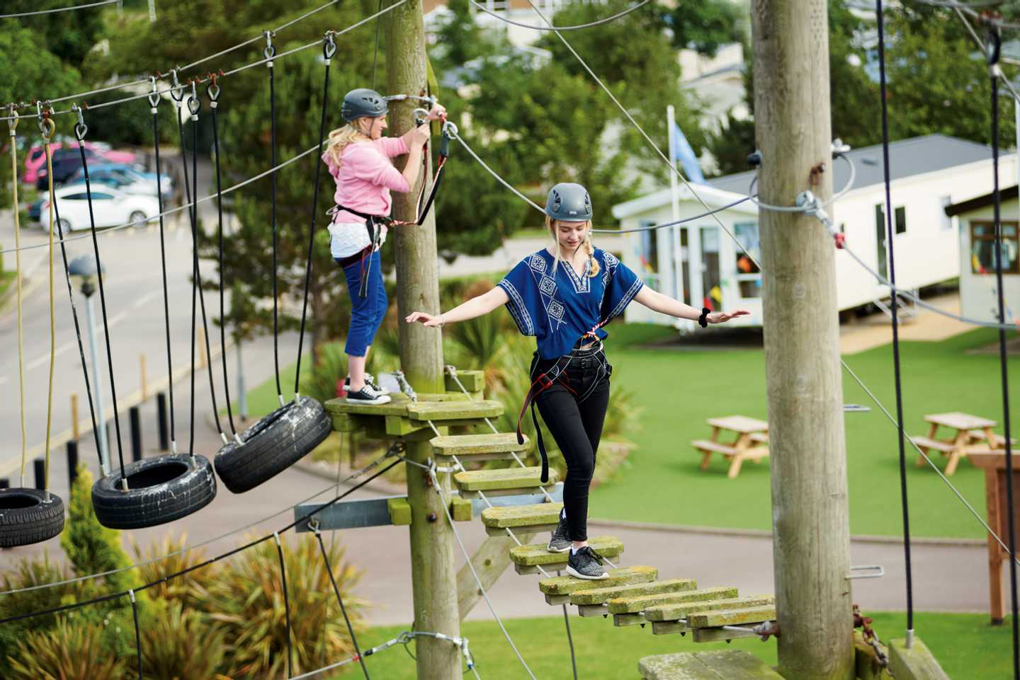 Guests enjoying our ropes course