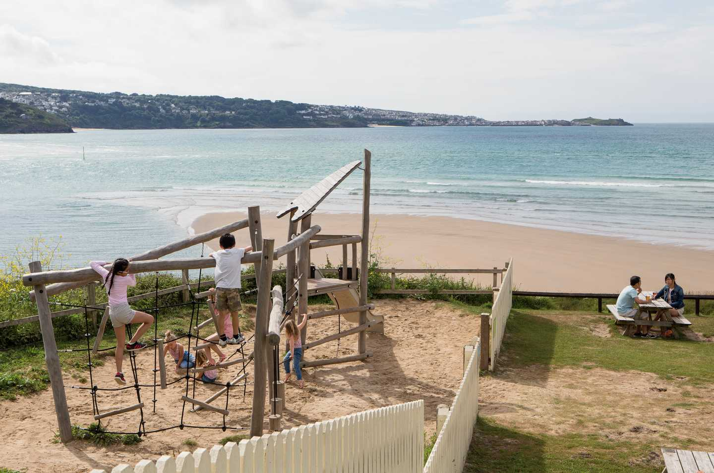 Children in the play area nearby the Bluff Inn restaurant