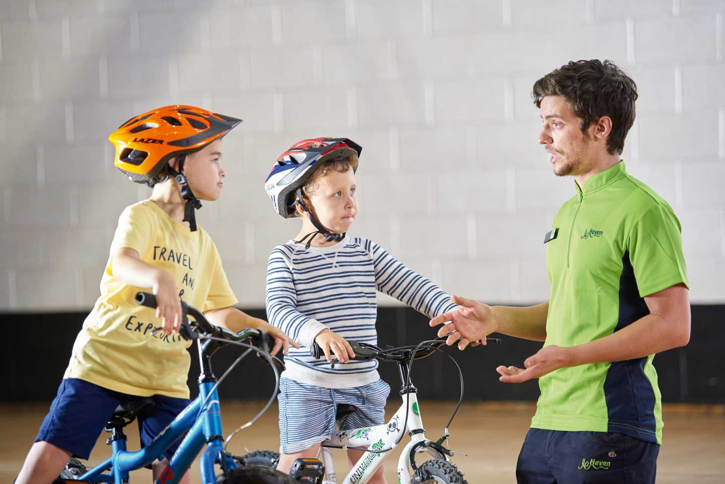 Children learning to ride their bike at Haven