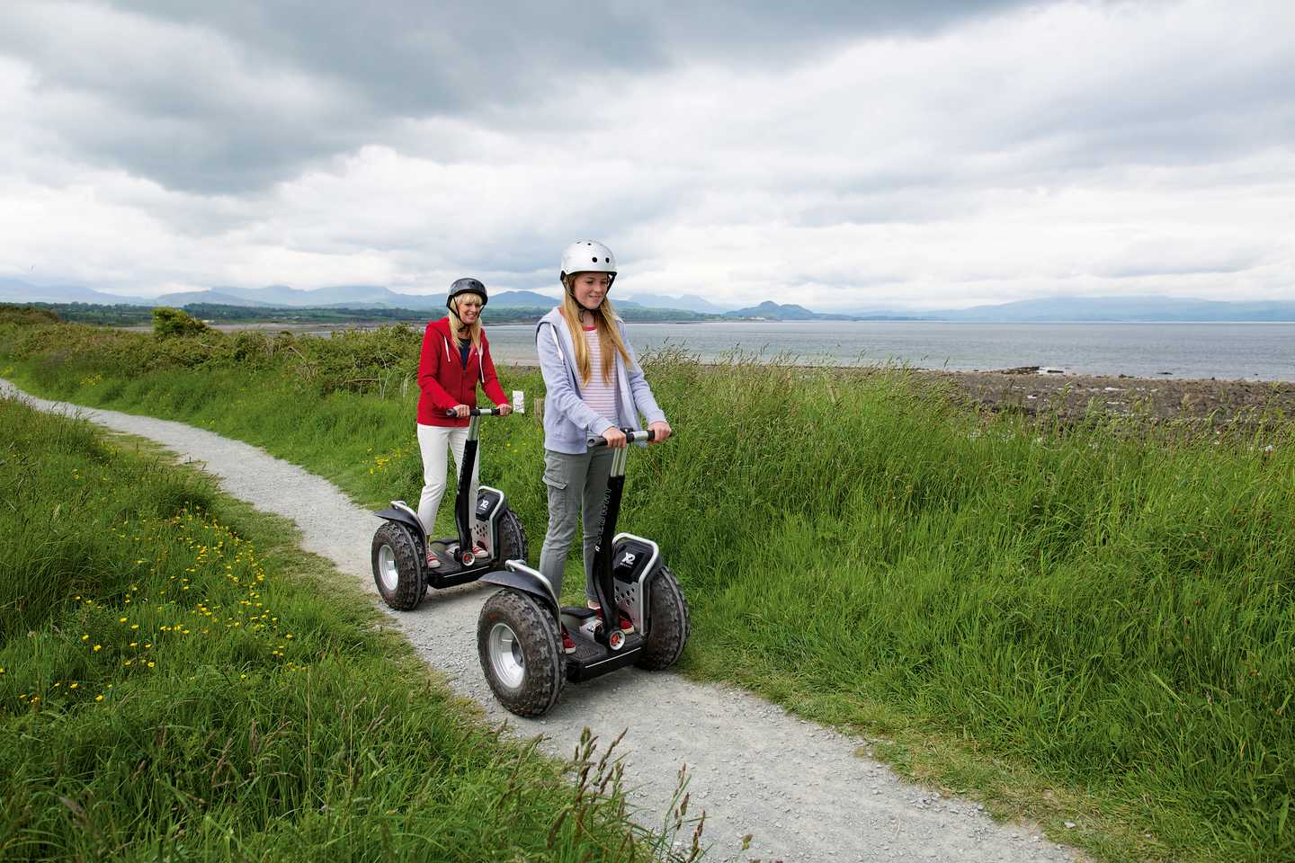 Guests exploring the park on Segways