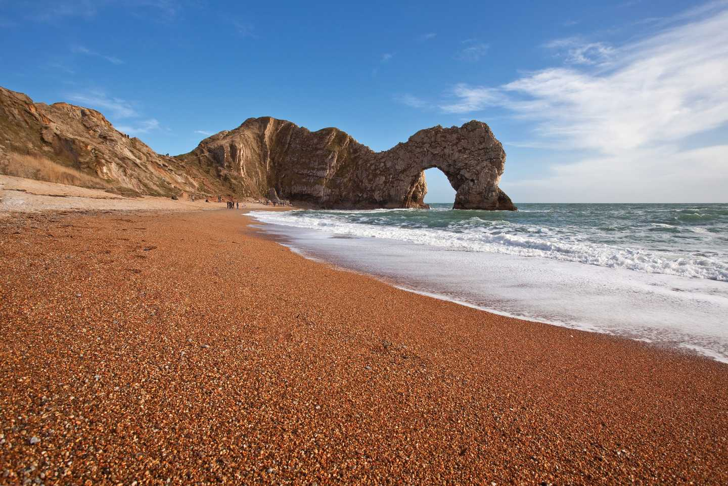 Low angle shot of Durdle Door