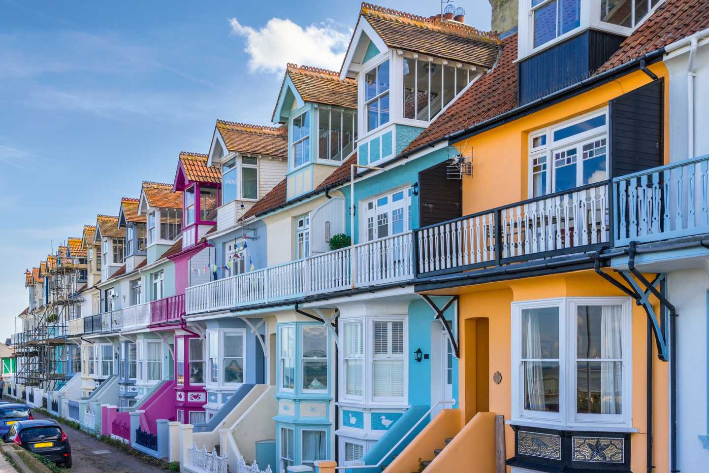 Colourful seafront homes in Whitstable
