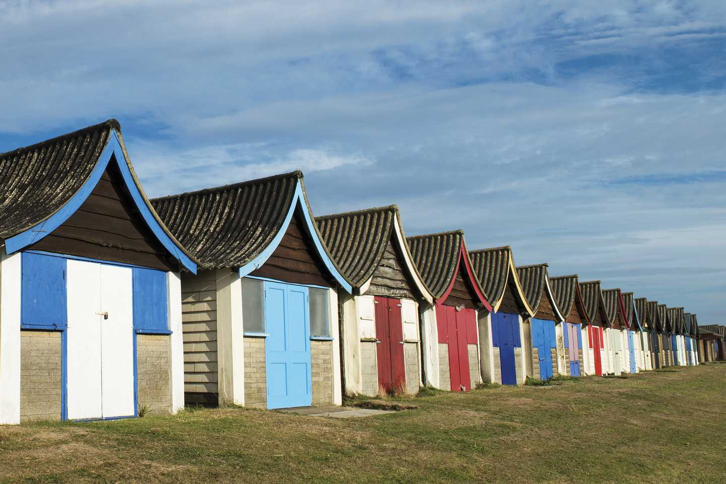 Mablethorpe Beach lined with beach huts