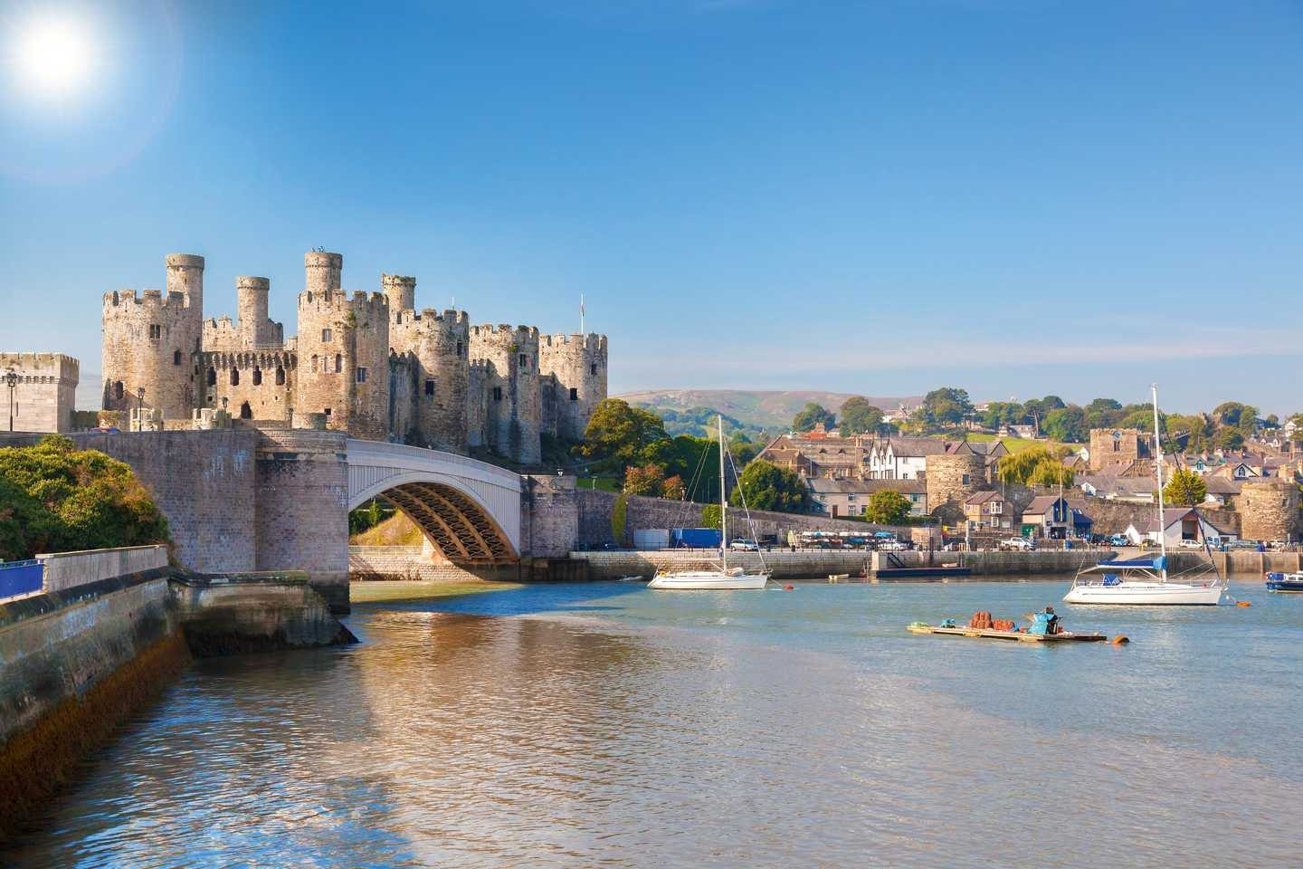 Conwy Castle overlooking the river