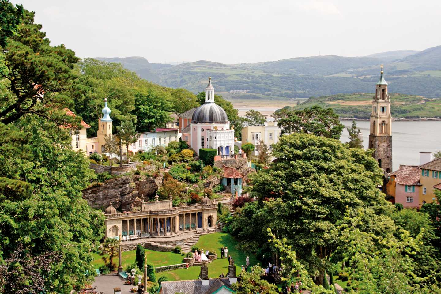 High angle view of Portmeirion coastal resort