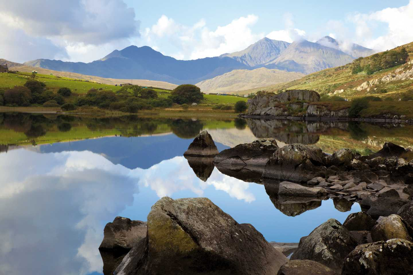 The clouds reflecting on a lake in Snowdonia