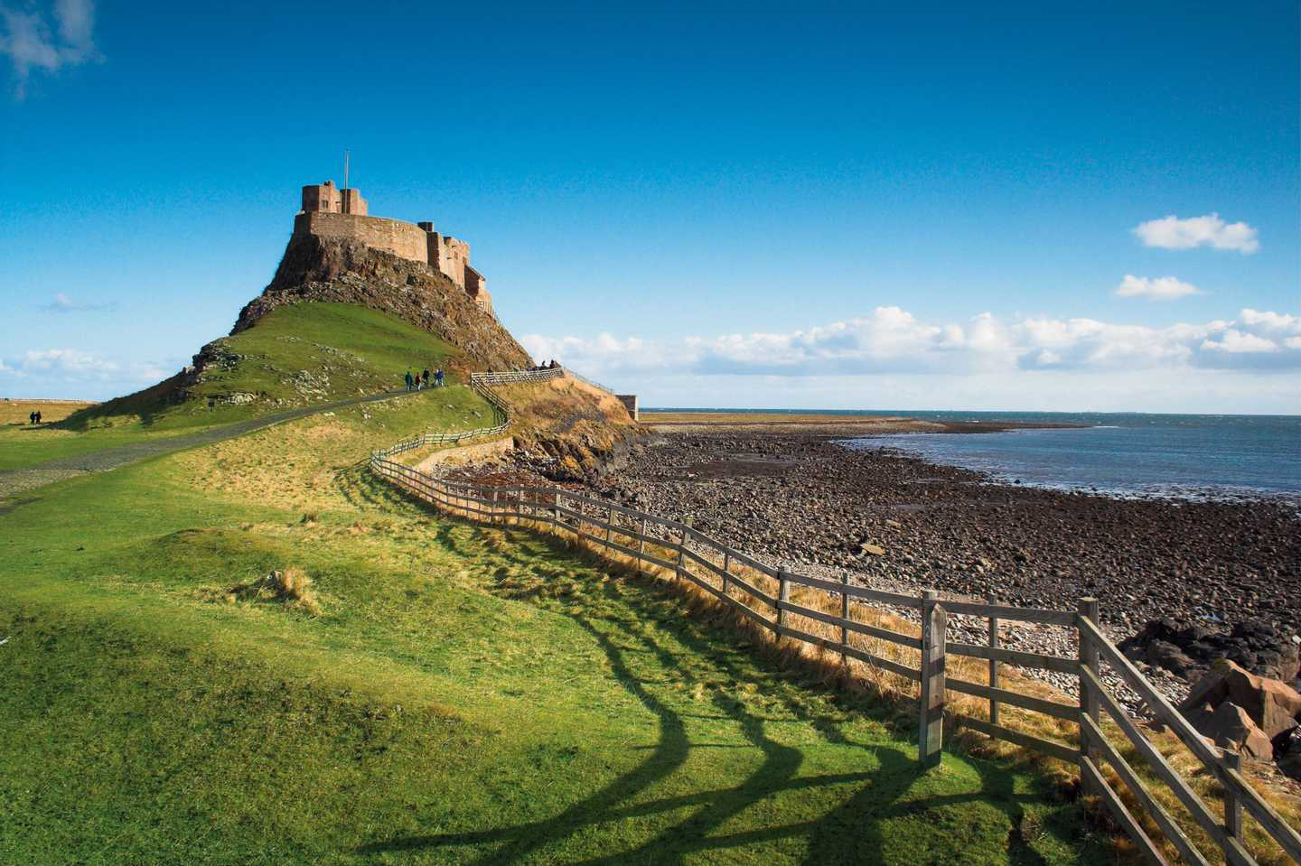 Lindisfarne Castle in the distance