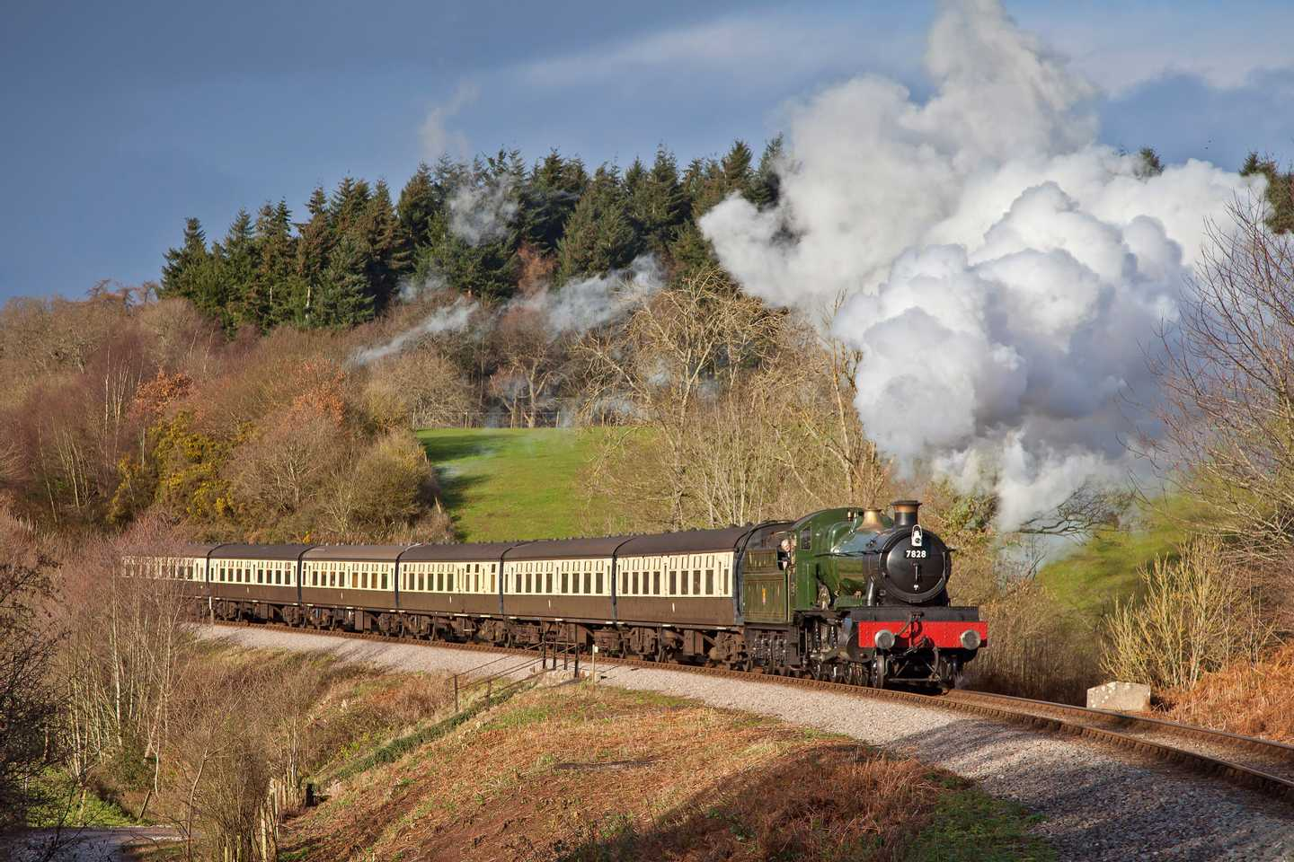 Steam train on West Somerset Railway line