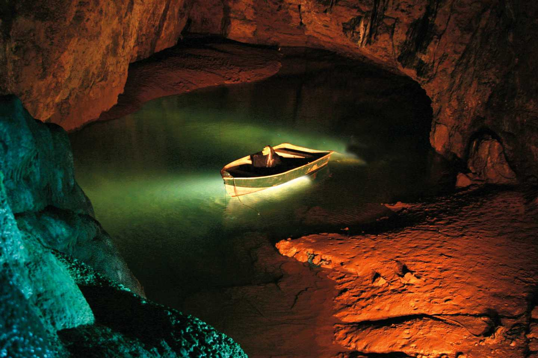 Inside Wookey Hole limestone caverns