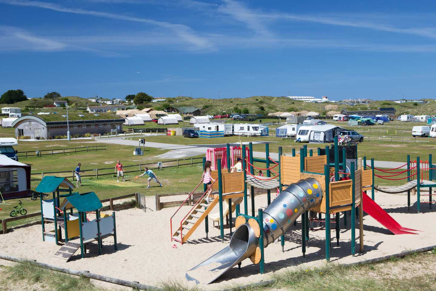 The outdoor play area at Perran Sands