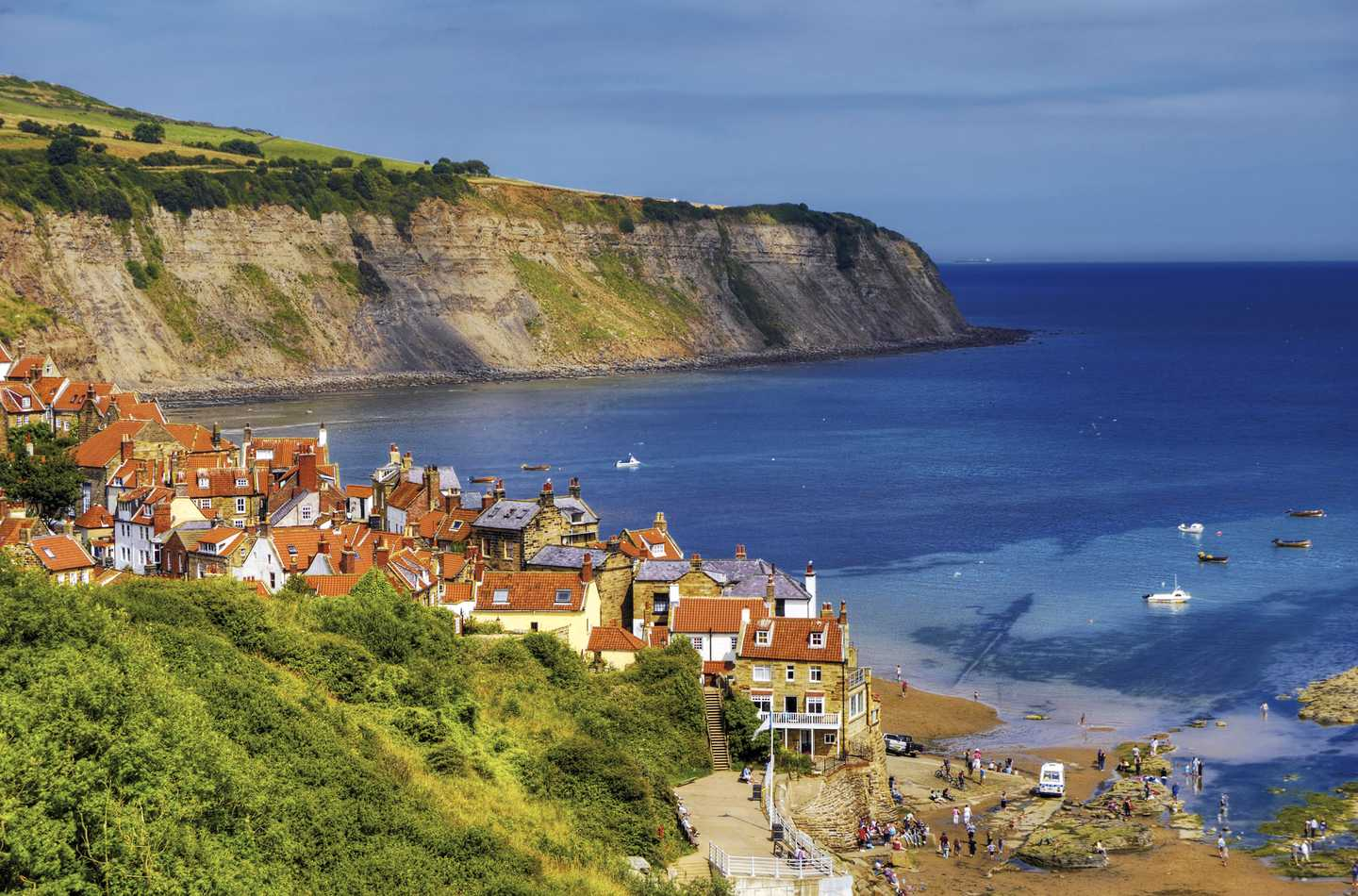 Aerial coastal view of Robin Hood's Bay