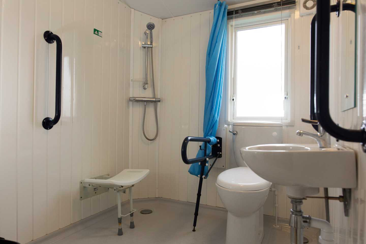 An Adapted caravan wet room