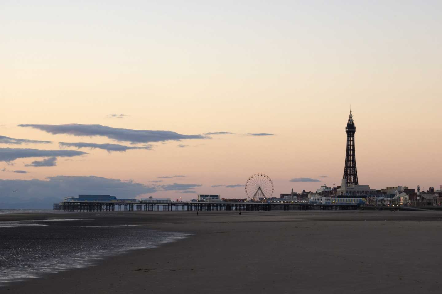 A silhouette of Blackpool tower at sunset