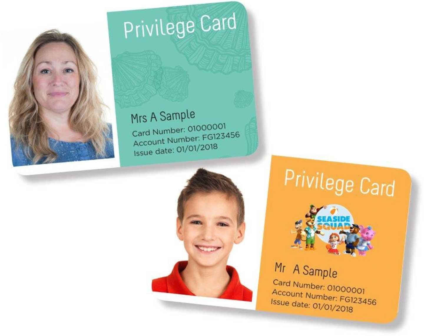 An example of our 2018 Privilege Cards, including owners picture, name, card number, account number and issue date
