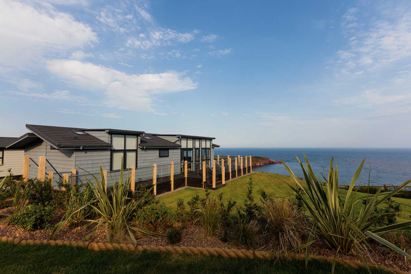 A view of one of our large lodges at Devon Cliffs Holiday Park