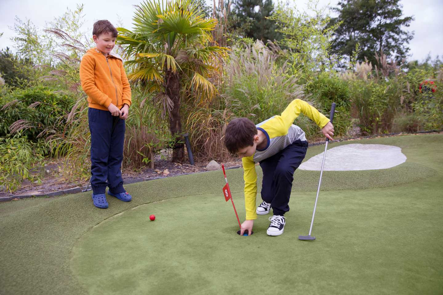Playing on the Adventure Golf course