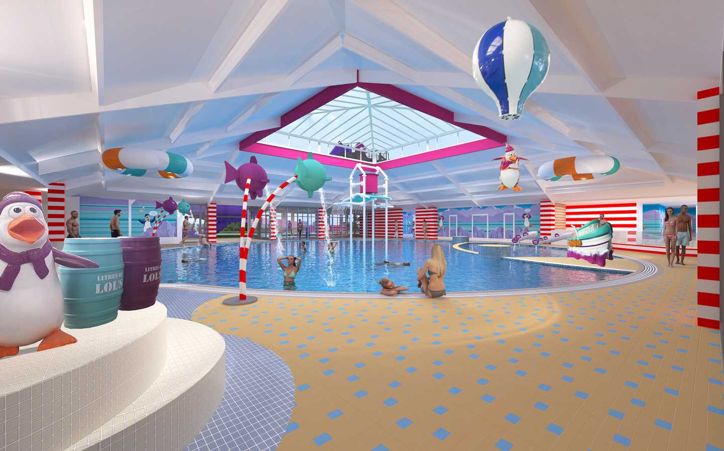 Artists impression of the new pool development at Thorpe Park