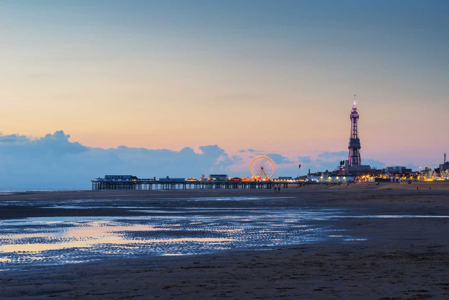 Sunset view of Blackpool Beach