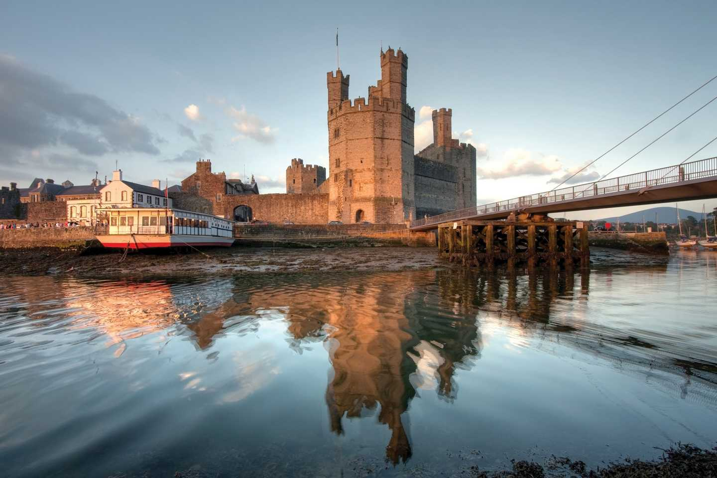 Caernarfon Castle reflecting into the River Seiont